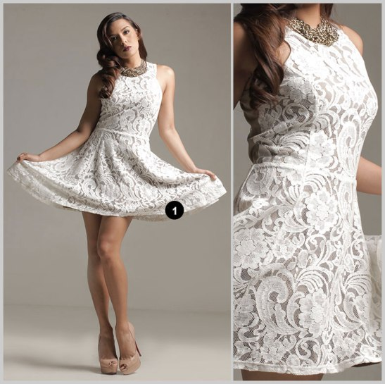 Maldita Cream Lace Halter Dress